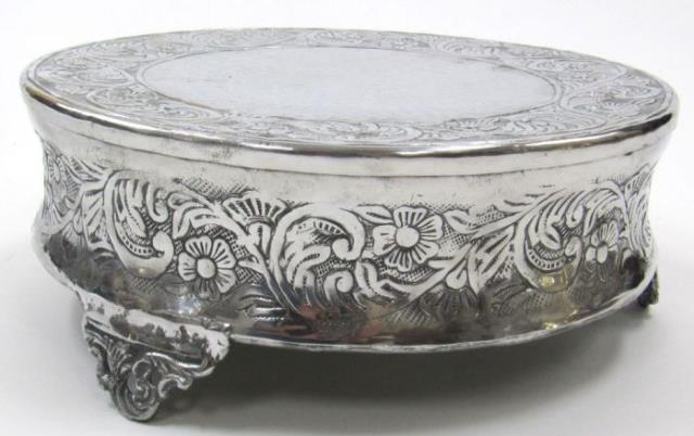 Cake Stand 16 Inch Silver Round Plateau, Silver Round Cake Plateau